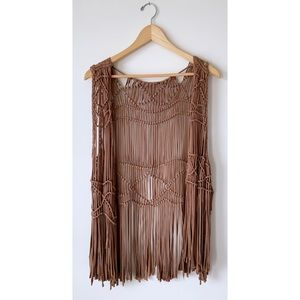 Free People Jackets & Coats - Macramé Fringe Vest 🌵 Boho Hippie Festival Style